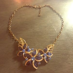 Jewelry - BLUE AND GOLD FLOWER NECKLACE